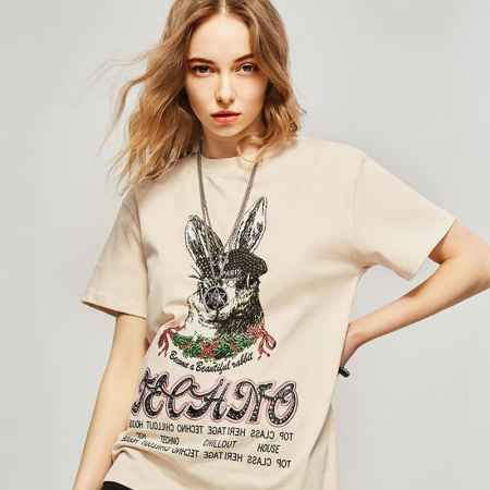TCH潮牌兔子印花烫钻短袖T恤宽松