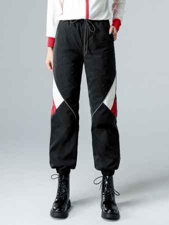 拼接反光条装饰运动羽绒裤厂家直销